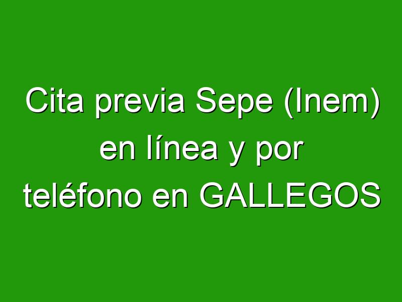 Cita previa Sepe (Inem) en línea y por teléfono en GALLEGOS