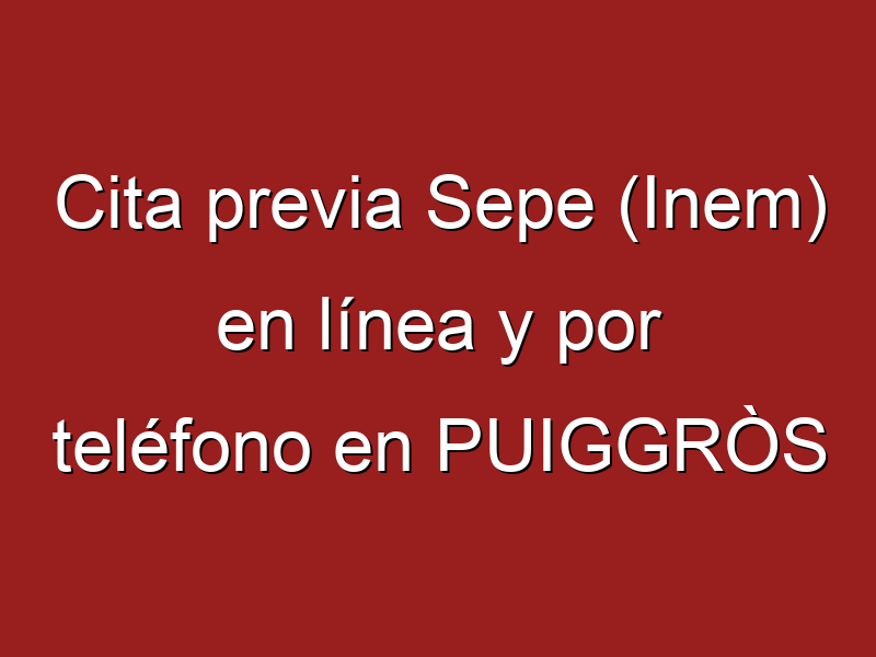 Cita previa Sepe (Inem) en línea y por teléfono en PUIGGRÒS
