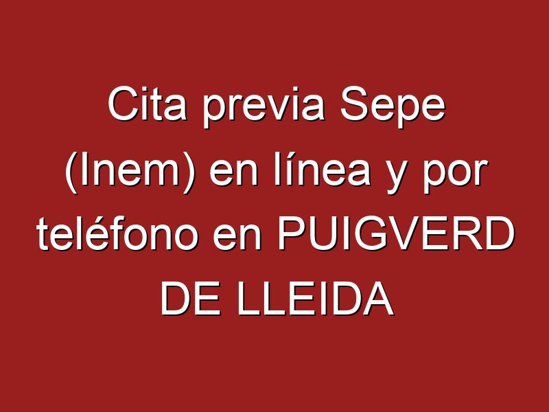 Cita previa Sepe (Inem) en línea y por teléfono en PUIGVERD DE LLEIDA