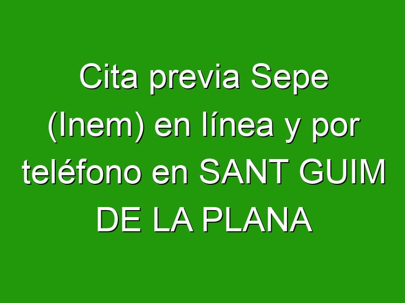 Cita previa Sepe (Inem) en línea y por teléfono en SANT GUIM DE LA PLANA