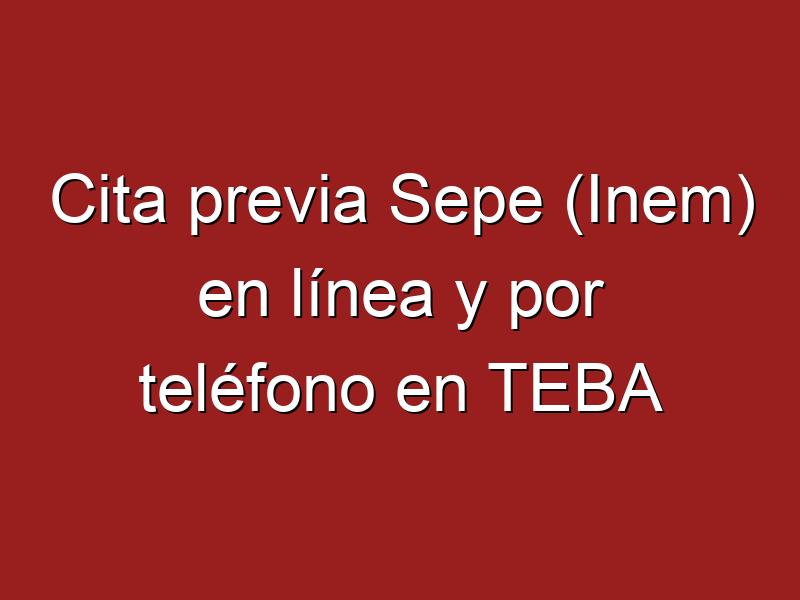 Cita previa Sepe (Inem) en línea y por teléfono en TEBA