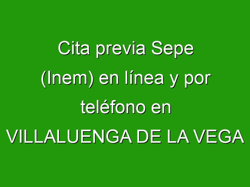 Cita previa Sepe (Inem) en línea y por teléfono en VILLALUENGA DE LA VEGA