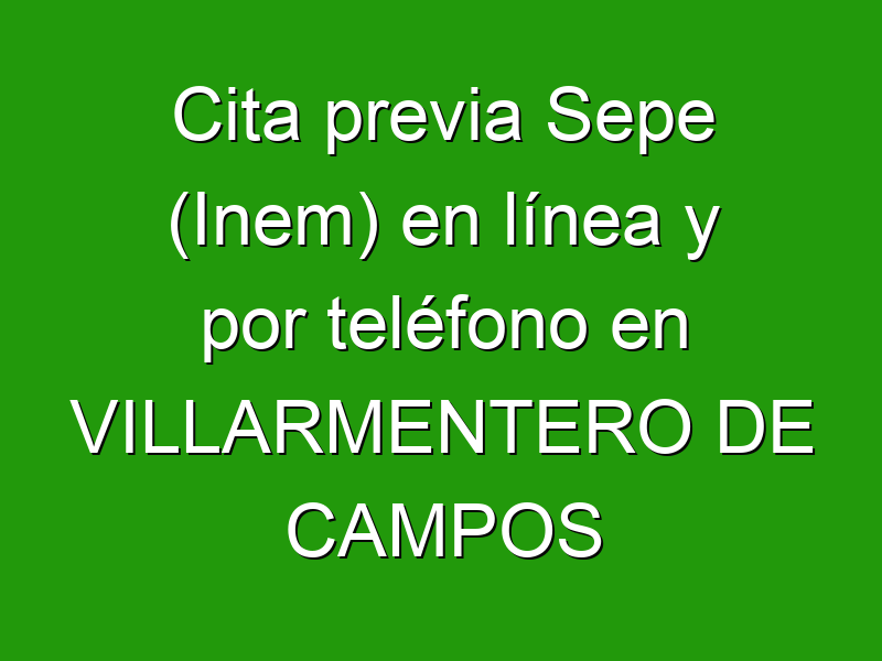 Cita previa Sepe (Inem) en línea y por teléfono en VILLARMENTERO DE CAMPOS