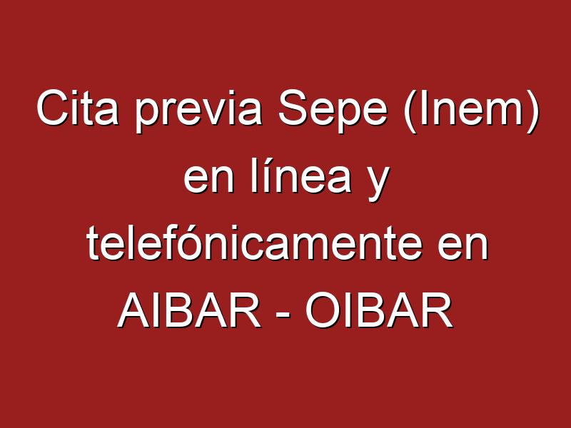 Cita previa Sepe (Inem) en línea y telefónicamente en AIBAR - OIBAR