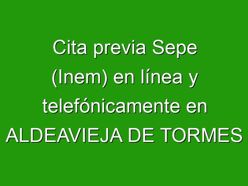 Cita previa Sepe (Inem) en línea y telefónicamente en ALDEAVIEJA DE TORMES