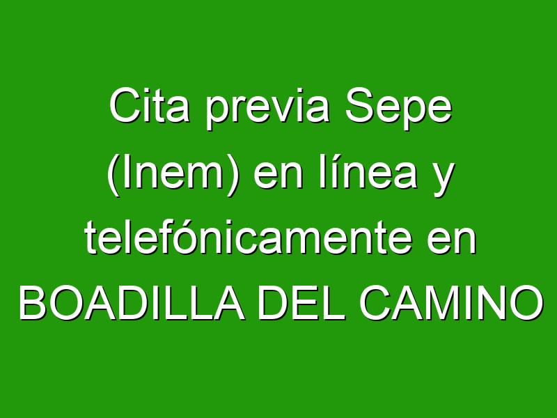 Cita previa Sepe (Inem) en línea y telefónicamente en BOADILLA DEL CAMINO