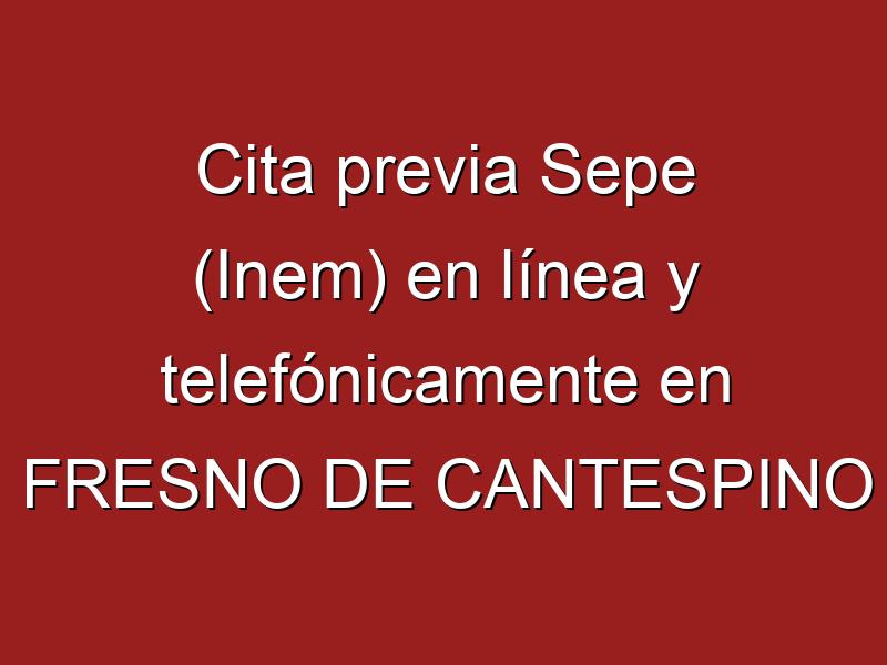 Cita previa Sepe (Inem) en línea y telefónicamente en FRESNO DE CANTESPINO