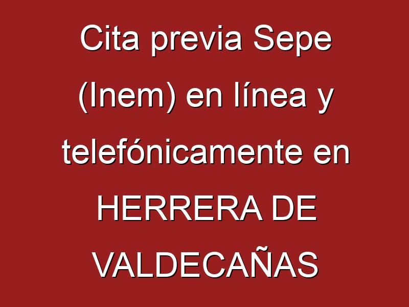 Cita previa Sepe (Inem) en línea y telefónicamente en HERRERA DE VALDECAÑAS