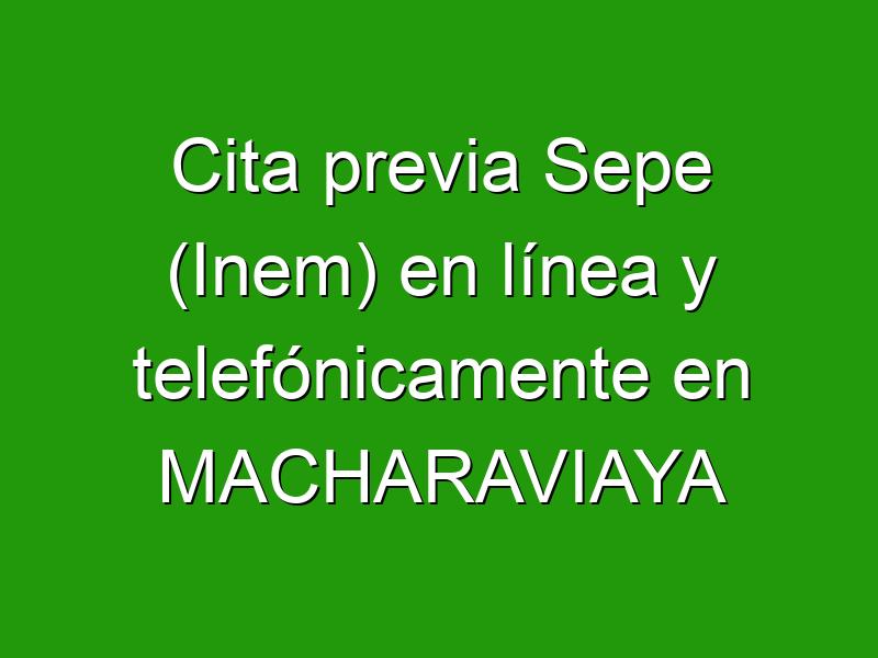 Cita previa Sepe (Inem) en línea y telefónicamente en MACHARAVIAYA