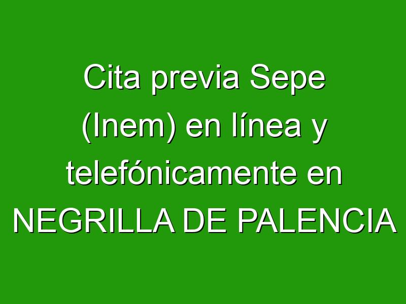 Cita previa Sepe (Inem) en línea y telefónicamente en NEGRILLA DE PALENCIA