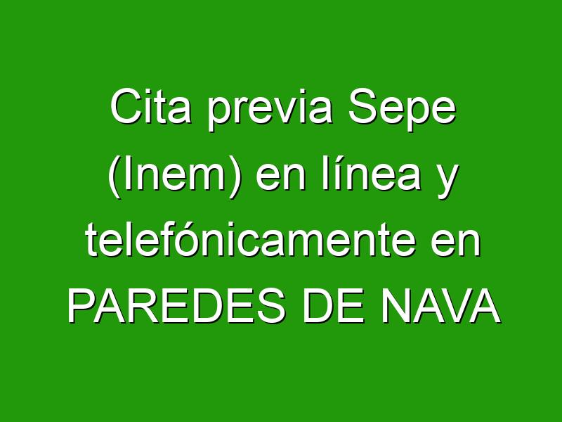 Cita previa Sepe (Inem) en línea y telefónicamente en PAREDES DE NAVA