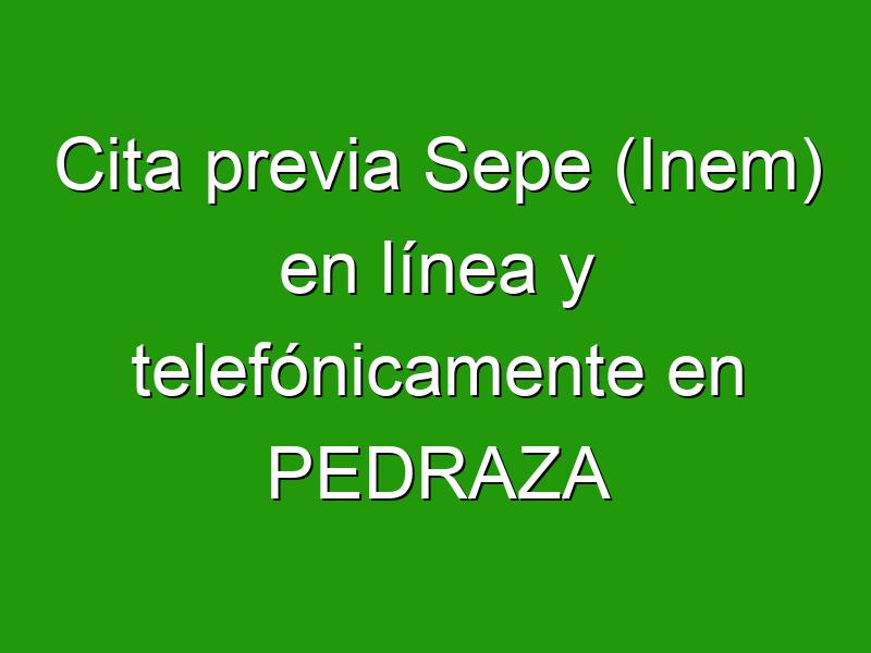 Cita previa Sepe (Inem) en línea y telefónicamente en PEDRAZA