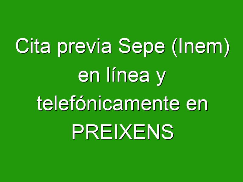 Cita previa Sepe (Inem) en línea y telefónicamente en PREIXENS