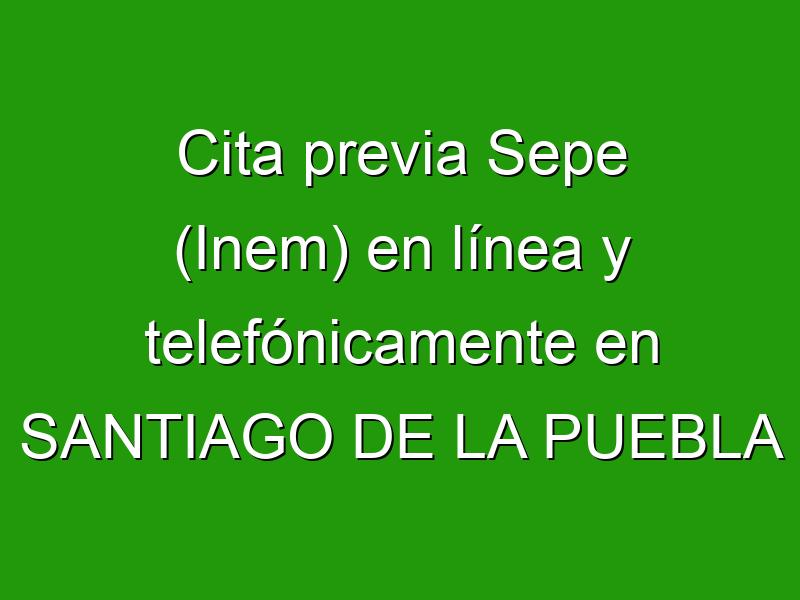 Cita previa Sepe (Inem) en línea y telefónicamente en SANTIAGO DE LA PUEBLA