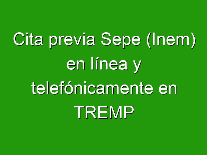 Cita previa Sepe (Inem) en línea y telefónicamente en TREMP