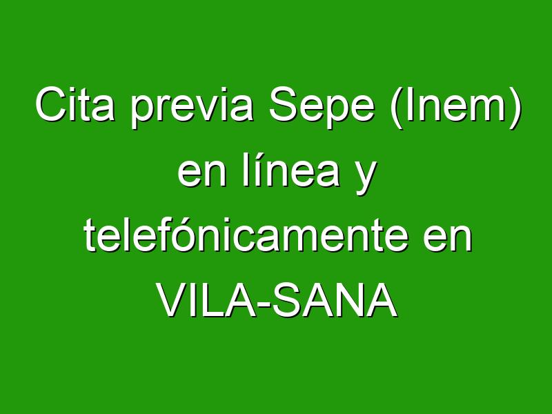 Cita previa Sepe (Inem) en línea y telefónicamente en VILA-SANA