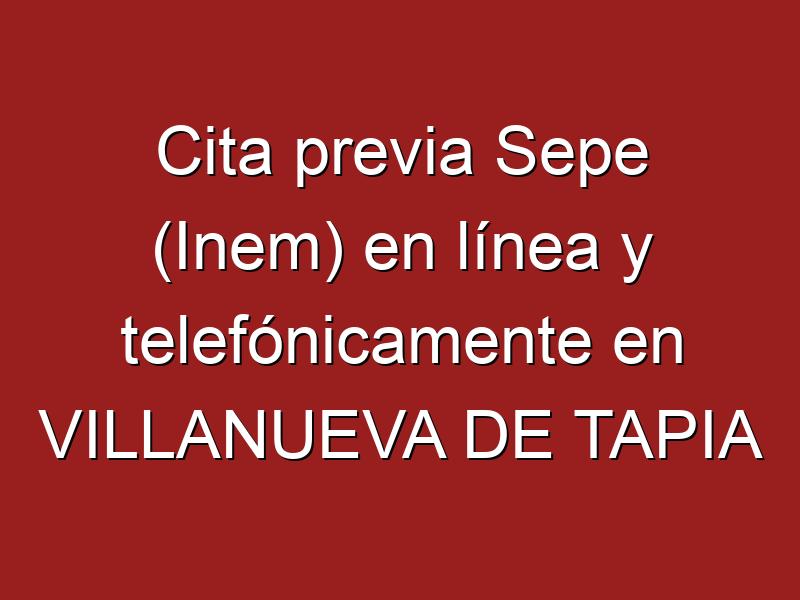 Cita previa Sepe (Inem) en línea y telefónicamente en VILLANUEVA DE TAPIA