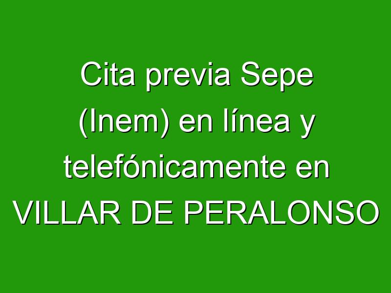 Cita previa Sepe (Inem) en línea y telefónicamente en VILLAR DE PERALONSO