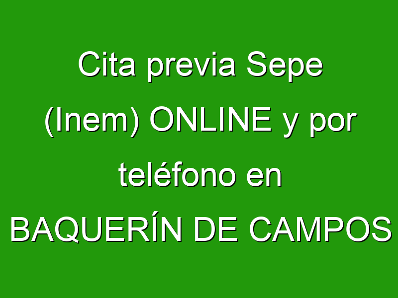 Cita previa Sepe (Inem) ONLINE y por teléfono en BAQUERÍN DE CAMPOS
