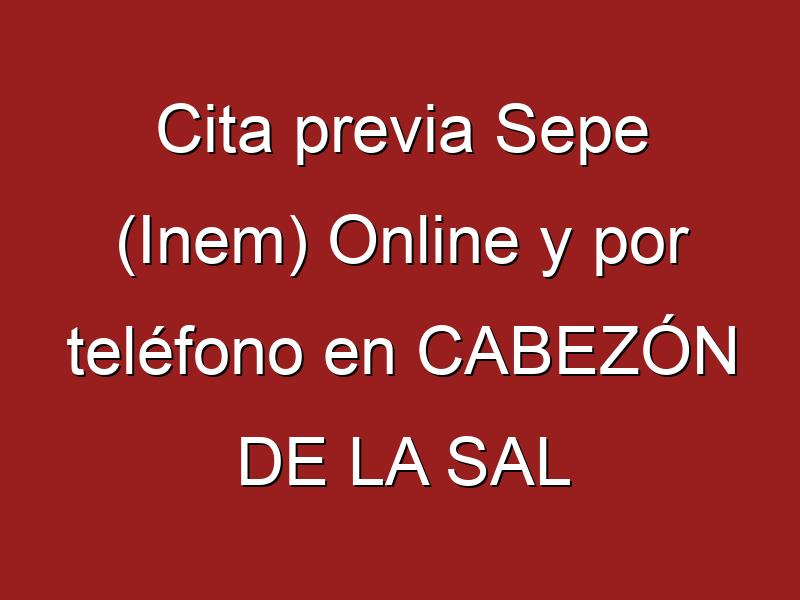 Cita previa Sepe (Inem) Online y por teléfono en CABEZÓN DE LA SAL