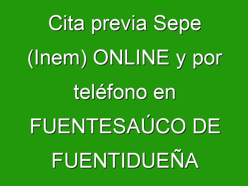 Cita previa Sepe (Inem) ONLINE y por teléfono en FUENTESAÚCO DE FUENTIDUEÑA