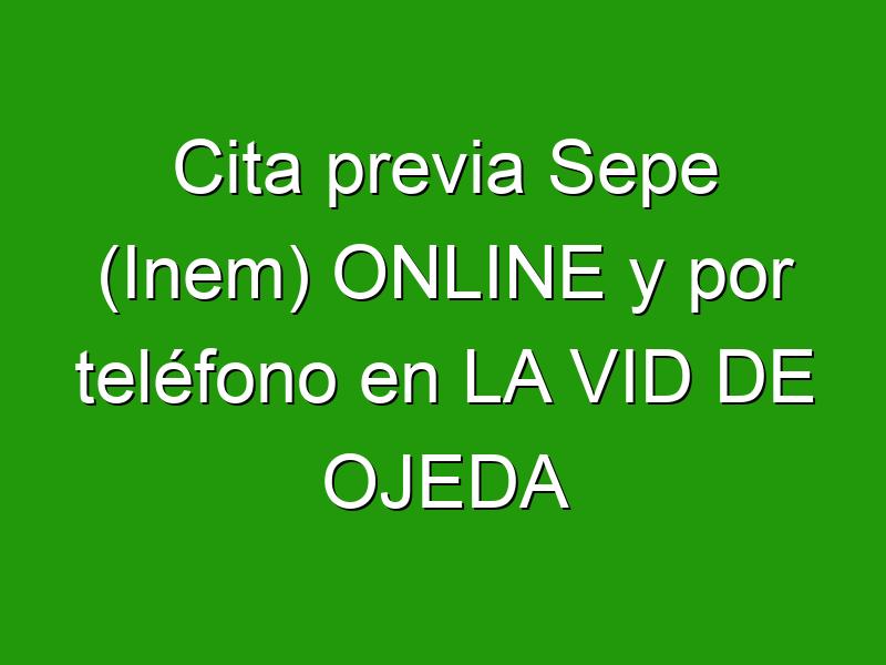 Cita previa Sepe (Inem) ONLINE y por teléfono en LA VID DE OJEDA