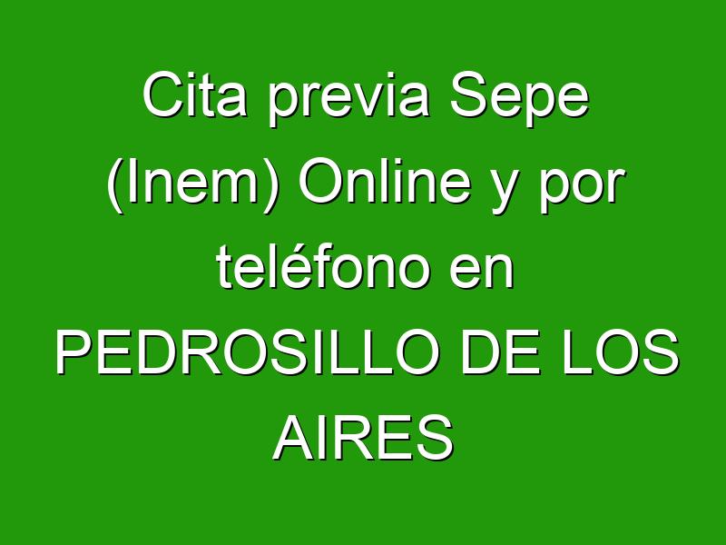 Cita previa Sepe (Inem) Online y por teléfono en PEDROSILLO DE LOS AIRES