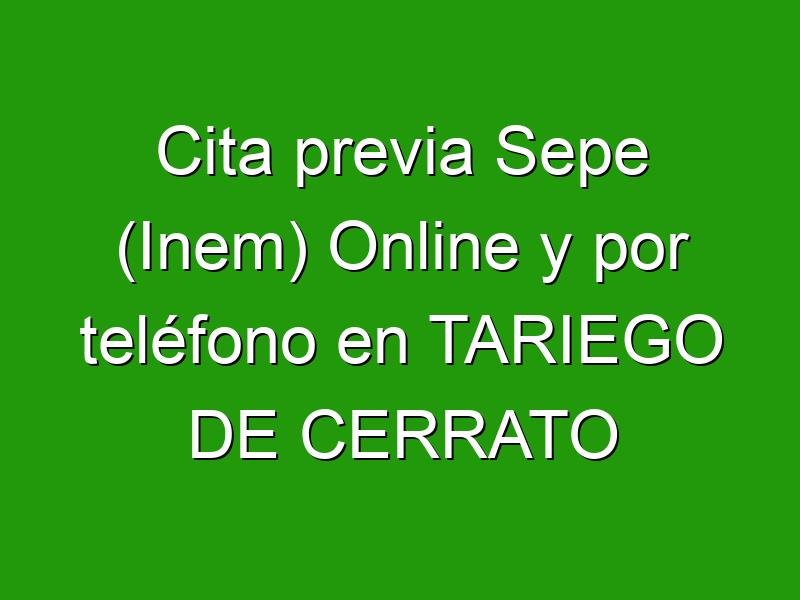 Cita previa Sepe (Inem) Online y por teléfono en TARIEGO DE CERRATO