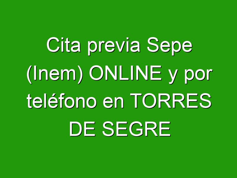 Cita previa Sepe (Inem) ONLINE y por teléfono en TORRES DE SEGRE