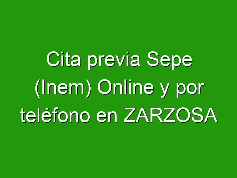Cita previa Sepe (Inem) Online y por teléfono en ZARZOSA