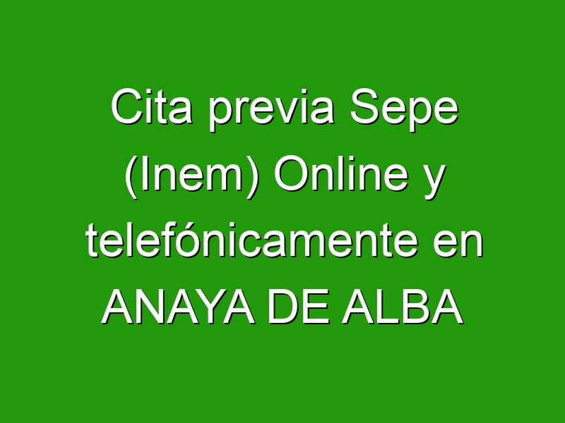 Cita previa Sepe (Inem) Online y telefónicamente en ANAYA DE ALBA