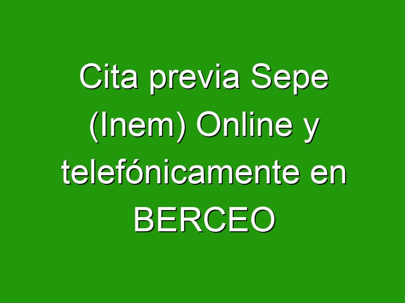 Cita previa Sepe (Inem) Online y telefónicamente en BERCEO