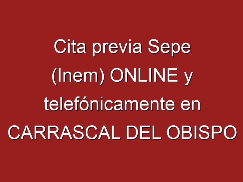 Cita previa Sepe (Inem) ONLINE y telefónicamente en CARRASCAL DEL OBISPO