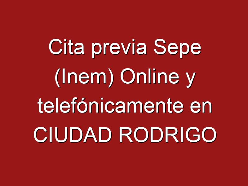 Cita previa Sepe (Inem) Online y telefónicamente en CIUDAD RODRIGO