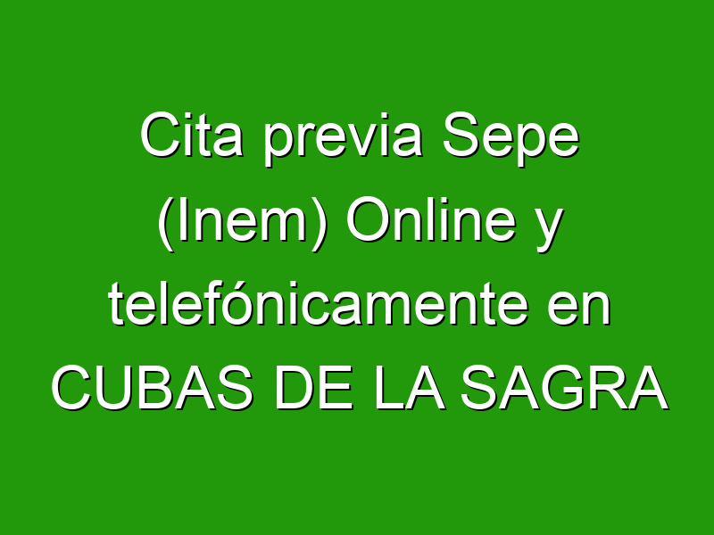 Cita previa Sepe (Inem) Online y telefónicamente en CUBAS DE LA SAGRA