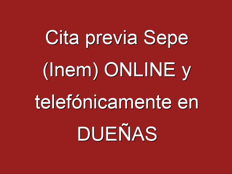 Cita previa Sepe (Inem) ONLINE y telefónicamente en DUEÑAS