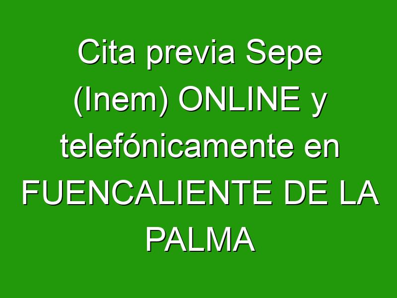 Cita previa Sepe (Inem) ONLINE y telefónicamente en FUENCALIENTE DE LA PALMA