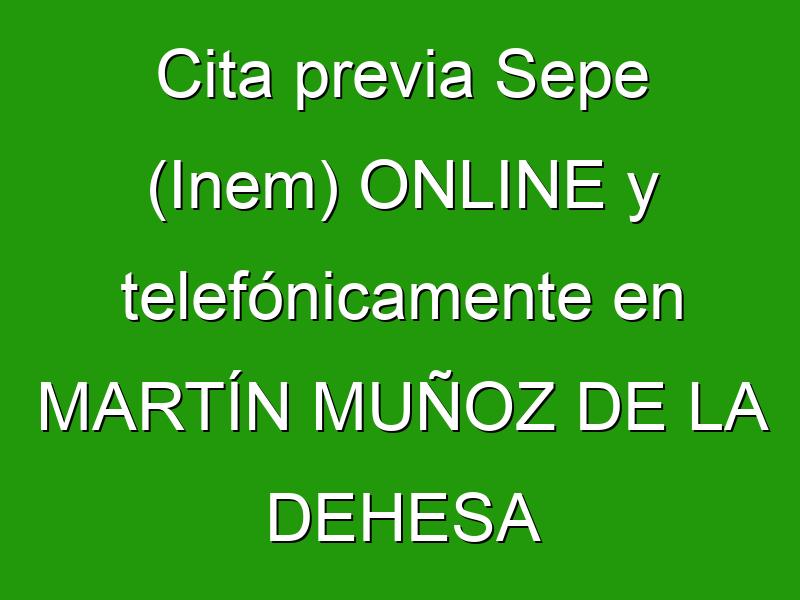 Cita previa Sepe (Inem) ONLINE y telefónicamente en MARTÍN MUÑOZ DE LA DEHESA