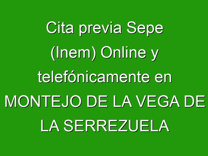 Cita previa Sepe (Inem) Online y telefónicamente en MONTEJO DE LA VEGA DE LA SERREZUELA