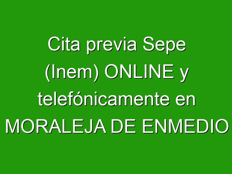 Cita previa Sepe (Inem) ONLINE y telefónicamente en MORALEJA DE ENMEDIO