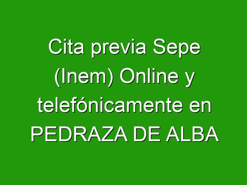 Cita previa Sepe (Inem) Online y telefónicamente en PEDRAZA DE ALBA