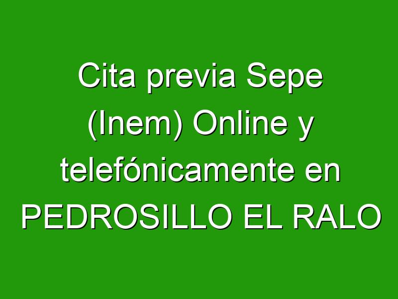 Cita previa Sepe (Inem) Online y telefónicamente en PEDROSILLO EL RALO