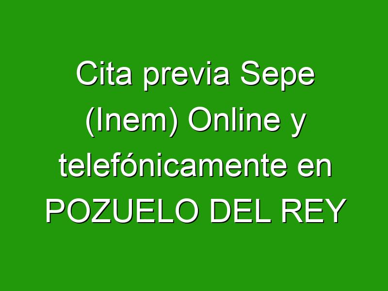 Cita previa Sepe (Inem) Online y telefónicamente en POZUELO DEL REY