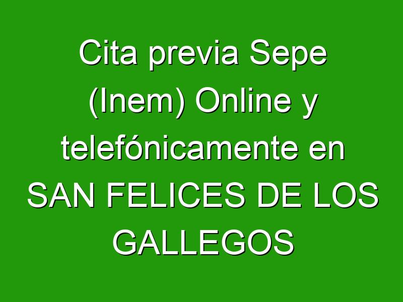 Cita previa Sepe (Inem) Online y telefónicamente en SAN FELICES DE LOS GALLEGOS