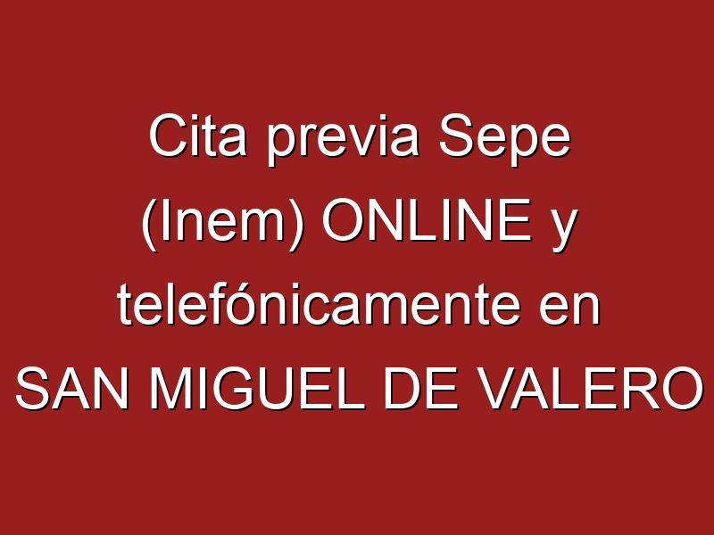 Cita previa Sepe (Inem) ONLINE y telefónicamente en SAN MIGUEL DE VALERO