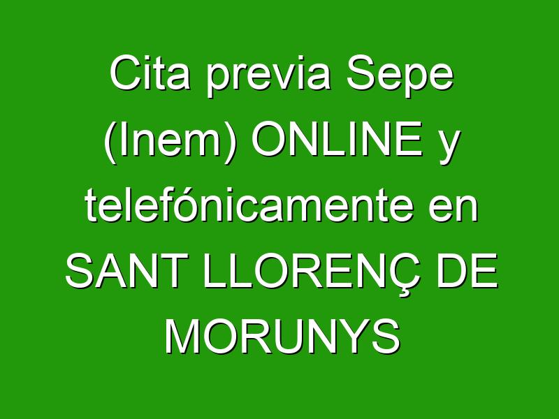 Cita previa Sepe (Inem) ONLINE y telefónicamente en SANT LLORENÇ DE MORUNYS