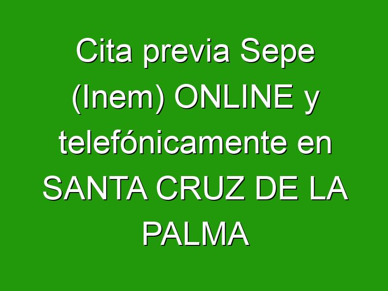 Cita previa Sepe (Inem) ONLINE y telefónicamente en SANTA CRUZ DE LA PALMA
