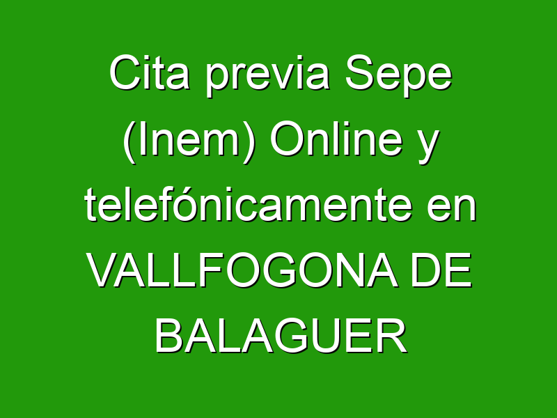 Cita previa Sepe (Inem) Online y telefónicamente en VALLFOGONA DE BALAGUER