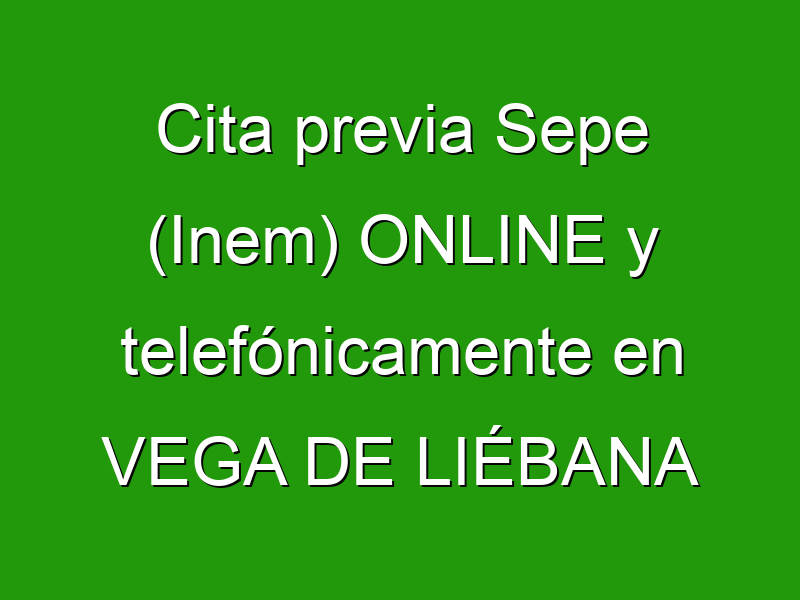 Cita previa Sepe (Inem) ONLINE y telefónicamente en VEGA DE LIÉBANA