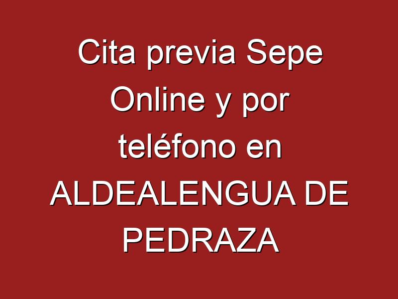 Cita previa Sepe Online y por teléfono en ALDEALENGUA DE PEDRAZA